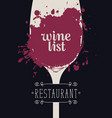 wine list with glass of wine spots and splashes vector image vector image