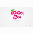 100 eco 3d word with a green leaf and pink color vector image vector image