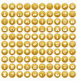 100 marketing icons set gold vector image vector image