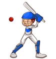 A sketch of a cricket player vector image vector image
