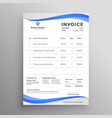abstract blue wavy style invoice template vector image vector image