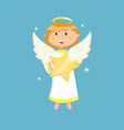 angel holding star flying little person vector image vector image