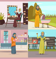 arabic woman concept icons set vector image vector image