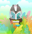 bear sitting on books stack reading a fairy tale vector image