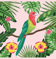 bird with flowers and plants leaves background vector image