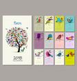 birds tree calendar 2018 design vector image vector image
