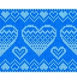 Blue knitted hearts seamless pattern vector image vector image