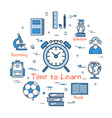 blue round time to learn concept vector image