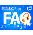 bright faq and head phone on blue background vector image