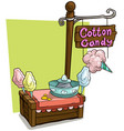 cartoon candy vendor booth market wooden stand vector image