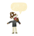 cartoon terrified old man with speech bubble vector image vector image