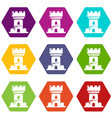 castle tower icons set 9 vector image