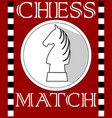 Chess match flyer with knight piece in circle