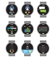 Circle smartwatch Applications on the screen vector image vector image