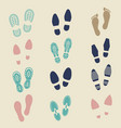 colorful footprints - female male and sport shoe