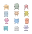 Colorfull armchairs isolated icons set vector image vector image