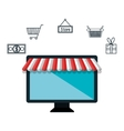 computer e-commerce buy market isolated vector image