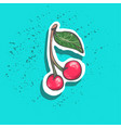 cute cherry with leaf sticker fashion patch badge vector image vector image