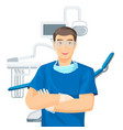 dentists chair doctor with smile vector image vector image