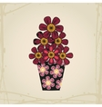 Doodle flowers in tattoo style and black vase vector image vector image