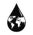 earth water drop icon simple style vector image vector image