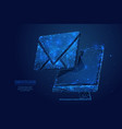 email on monitor low poly blue vector image vector image
