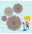 Engineer and gear mechanic vector image