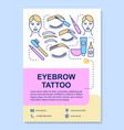 eyebrow tattoo poster template layout eye brow vector image vector image