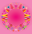 floral retro circle round frame border vector image vector image
