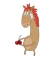 Funny flat character horse on white background vector image vector image