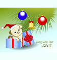 funny puppy and christmas tree for the new year vector image vector image