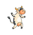 funny spotted cow going away on two paws vector image vector image