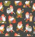 garden gnomes cartoon seamless pattern vector image