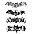 halloween lettering on bat for party vector image vector image
