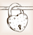 heart shaped lock engraving vector image vector image