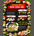 japanese suhi with sauce and chopstics bar menu vector image vector image