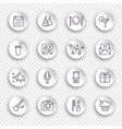 linear birthday icons set on white stickers with vector image vector image