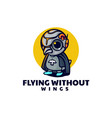 logo flying penguin simple mascot style vector image