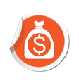 moneybag dollar icon orange label vector image vector image