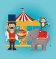 monkeys and elephant circus show vector image vector image