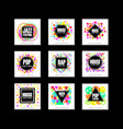 music festival logo set classic house pop rap vector image vector image