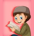muslim kid reading books vector image vector image
