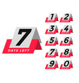 number days left template in tag style vector image vector image
