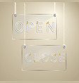 open and close sign on glass design element vector image