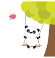 panda ride on the swing green tree flying pink vector image