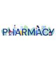 pharmacy word cartoon flat vector image vector image