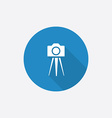 photo camera tripod Flat Blue Simple Icon with vector image