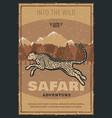retro poster for safari hunting adventure vector image vector image