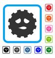 sad face smiley gear framed icon vector image vector image