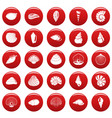 sea shell icons set vetor red vector image